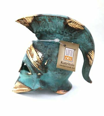 Ancient Greek Bronze Miniature Helmet Green Gold Oxidization 310