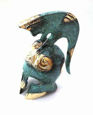 Ancient Greek Bronze Miniature Helmet Green Gold Oxidization 374