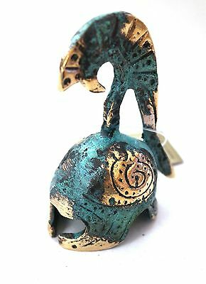 Ancient Greek Bronze Miniature Helmet Green Gold Oxidization 382
