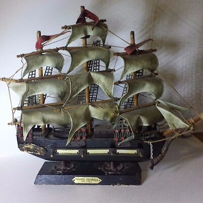 Vintage Fragata Espanola Ship Model ANO 1780 Mounted on Stand