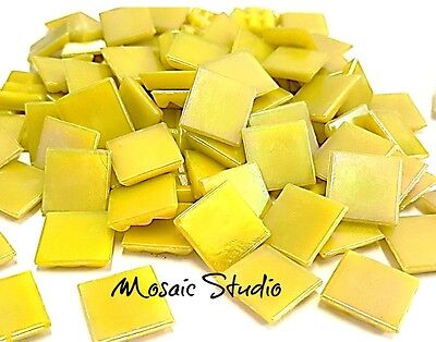 Mosaic Iridescent Tiles 15x15mm x 50pc - Yellow