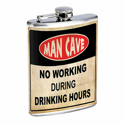 Funny Drinking Signs Hip Flask D8 8oz Stainless Steel Liquor Alcohol Whiskey