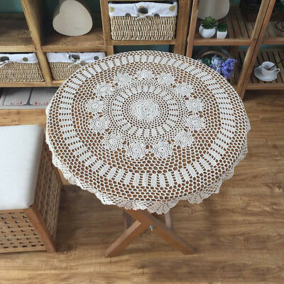 1X Vintage Lace Round Crochet Tablecloth Table Cover Handmade Party Home Décor