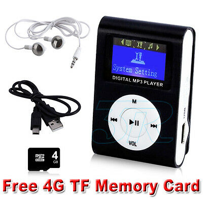 Music Media Mini MP3 Player LCD Screen Clip Support Micro SD TF Card 16GB