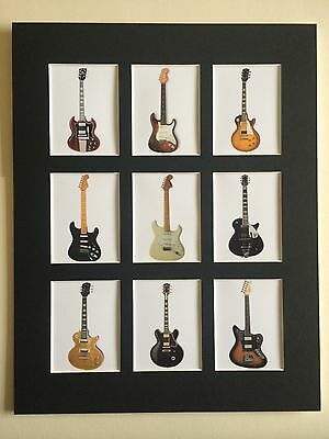 "CLASSIC GUITARS PICTURE MOUNTED 14"" By 11"" READY TO FRAME SLASH BEATLES HENDRIX"