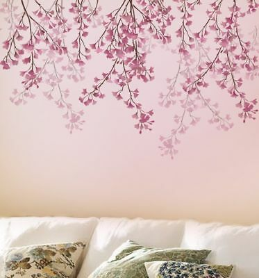 Weeping Cherry Stencil - Cherry Blossom Decor - Reusable Stencils for Makeovers