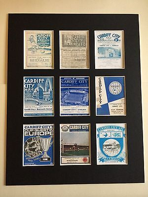 "CARDIFF CITY FC RETRO PROGRAMME PICTURE MOUNTED 14"" By 11"" READY TO FRAME"