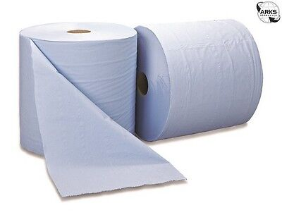 ESSENTIALS 2 Ply Blue Bumper Wiping Roll - 400m x 260mm - Pack of 2 - PW2B107