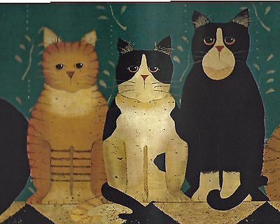 Country Cats  Folk Art Stencil  - ONLY $9 - Wallpaper Border A003