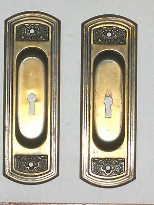 Antique Victorian Pocket Door Pulls with Key Holes