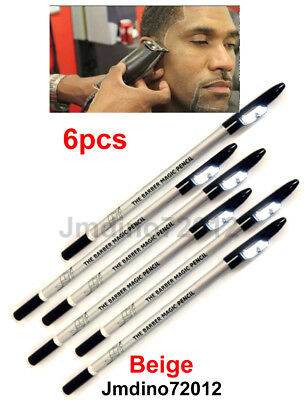 6pcs Beige Barber's Magic Pencil, for outlining before trimming and shaving