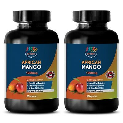 African Mango 1200 Appetite Suppressant Cleanse Extract 2 Bottles - 120 Capsules