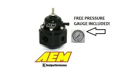 AEM Universal Adjustable Fuel Pressure Regulator & Free Gauge  #25-302BK