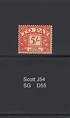 GREAT BRITAIN J54 (SG D55)  1955 5Sh Postage Due High Value...VF