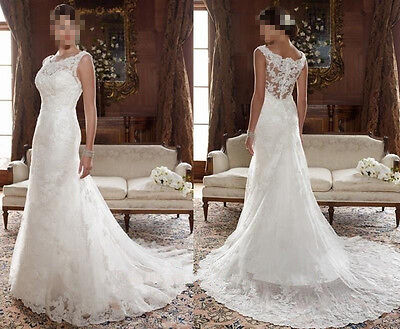 New Lace White/Ivory Wedding dress Bridal Gown custom size 4 6-8-10-12-14-16-18