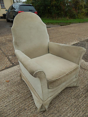 vintage,armchair,chair,upholstered,1930's,wood legs,castors,small,parlour chair