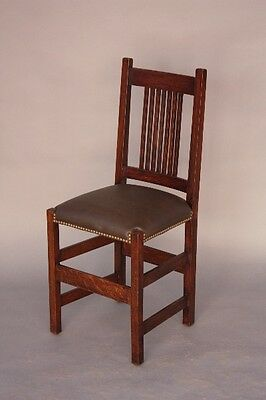 1910 Arts & Crafts Mission Prairie Chair Spindle Back Rivets Craftsman (8632)