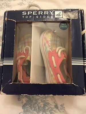 Sperry Top Sider Infant Girls Deck Shoes Size UK 2.5 Pastel Check Pink