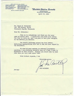 "Red Scare Senator ""Joe"" McCarthy Letter Signed 15 days before Death Budget"