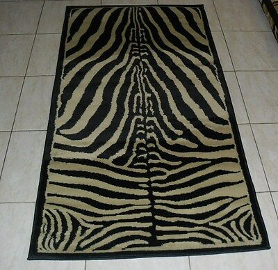 New Beige/black Animal Print Heatset Hallway Runner Themed Rug 80X150Cm