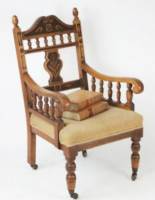 Antique Edwardian Carved Oak Armchair - FREE Delivery [PL1634]