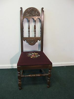 Antique Jacobean Style Dining Side Chair With Needlepoint Seat Cover