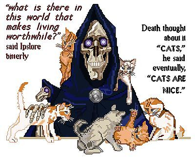 Discworld Death & Kittens counted cross stitch kit/chart, 14ct, 18ct, 28ct, 32ct
