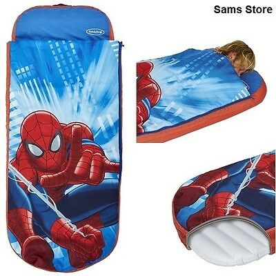 Spiderman Child Air bed Inflatable Sleeping Bag Pump Sleepover Holiday Camping