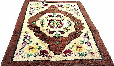 """Antique Turkish vintage unique handmade hand-knotted thick rug 62""""x 89"""" wool #16"""