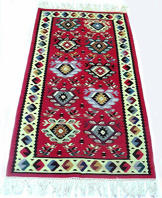 """Antique tribal vintage unique handmade hand-knotted rug (32"""" x 66"""") 100% wool #1"""