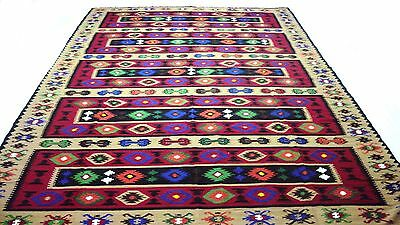 "Antique Tribal Vintage Handmade Hand-Knotted Soft Rug  94"" x 139"" 100% wool  #24"