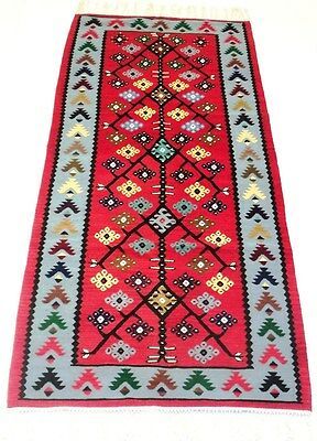 "Antique vintage unique handmade hand-knotted kilim rug (32"" x 75"") 100% wool #25"