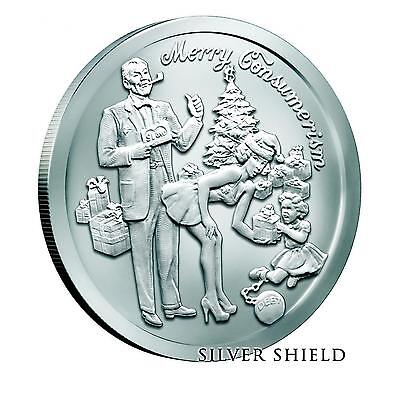 2015 Silver Shield Merry Consumerism 1 oz .999 Silver BU Round US Christmas Coin