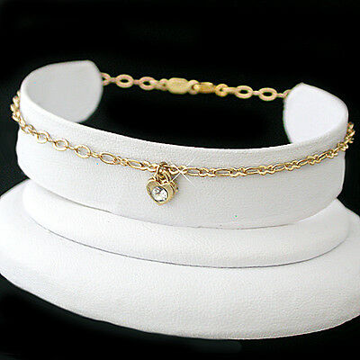 """HEART CRYSTAL CHARM 11"""" Fancy OPEN link 14K GOLD EP Anklet Ankle Foot Chain 