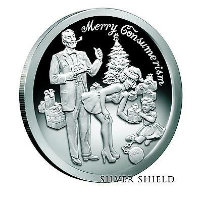 2015 Silver Shield Merry Consumerism 1 oz Silver Proof-Like Round Christmas Coin