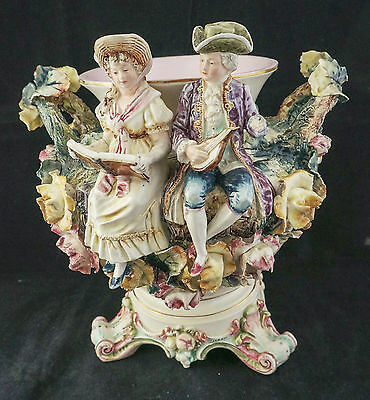 Fabulous Continental Antique Figural Flower Encrusted Majolica Large Jardinière