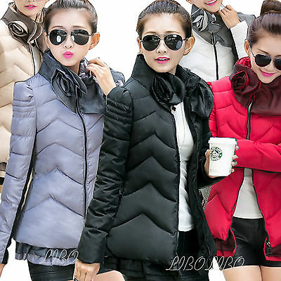 Women Fashion Lace Flower Collar Down Coat Cotton Quilted  Slim Jacket outwear