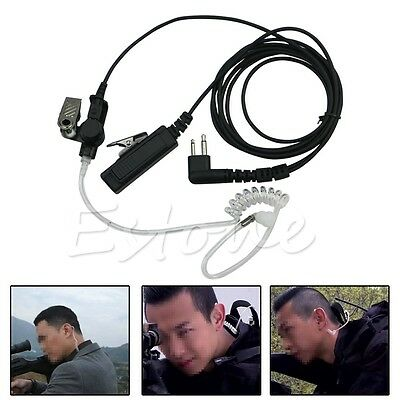 2 Pin Headset Mic Covert Acoustic Tube Earpiece For Motorola Radio Security New