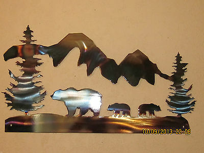 Bear  Family Mountains Steel Wall Art Metal Art