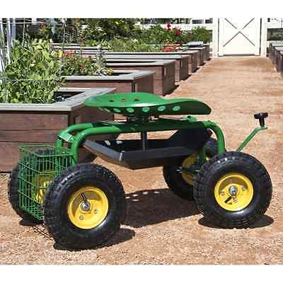 Garden Cart Rolling Work Seat With Tool Tray Heavy Duty Gardening Planting New