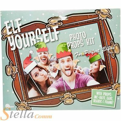 Elf Yourself Photo Picture Frame & Props Kit Funny Faces Christmas Party Fun