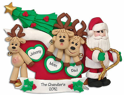 Reindeer FAMILY of 3 Handmade Polymer Clay Personalized Christmas Ornament