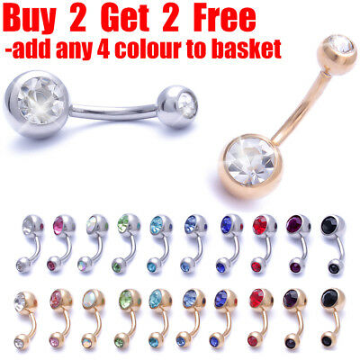 316L Surgical Steel Belly Bar Navel Bar Belly Navel Button Double Crystal Gem