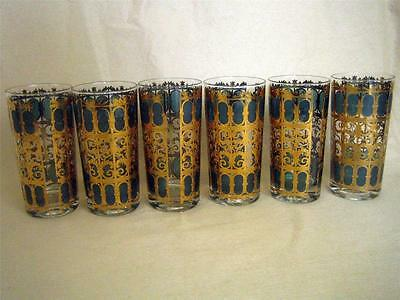 "Vintage CULVER Set of 6 EMERALD SCROLL 22K Gold 5 1/2"" Highball Tumbler Glasses"