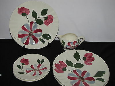 7 Pc of Blue Ridge Southern Potteries Whirligig Creamer Luncheon & Bread Plates