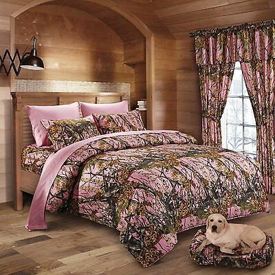 12 Pc Set Regal Comfort Pink Camo Comforter Sheet Full Size Camouflage Curtains