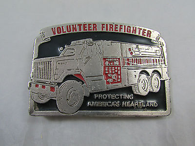 Vintage Metal Silver Tone Volunteer Firefighter Cowboy Belt Buckle