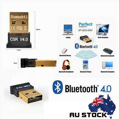 Bluetooth V4.0 USB Dongle Wireless Adapter EDR for PC Windows Home AU CE