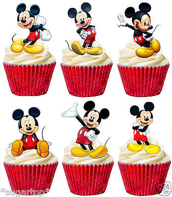24 x MICKEY MOUSE Set of 6 Designs STAND UPS Edible Cup Cake Toppers Decorations