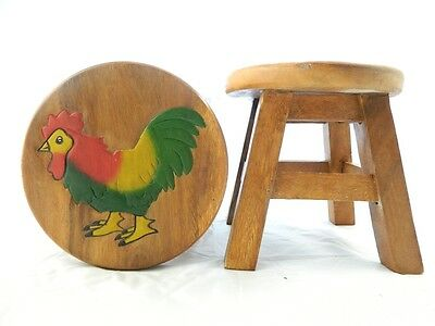 Childs Childrens Wooden Stool - Chicken Cockerel Step Stool